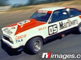 Peter Brock racing his Holden Dealer Team Torana A9X at Symmons Plains in 1978